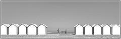 les cabines. (grard lavalette) Tags: sea mer white black beach horizon le plage photographe somme cabines minimalisme crotoy powerofart grardlavalettephotographeparis11me