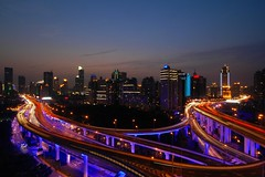 Shanghai - Blue Roads at the Blue Hour (cnmark) Tags: china road blue light night geotagged noche highway shanghai traffic expo nacht district trails an led trail hour yan noite intersection  elevated  nuit notte 2010 nachtaufnahme huangpu blaue  yanan nanbei stunde allrightsreserved     oltusfotos mygearandme mygearandmepremium mygearandmebronze mygearandmesilver mygearandmegold mygearandmeplatinum mygearandmediamond geo:lat=3122544 geo:lon=121464752