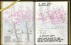 Cherry Blossom (skyeshell) Tags: trees sketch cherryblossom burnley terracedhouses mixedmediadrawing sketchbookjournal drawingthroughthewindowatthehairdressers