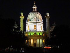 Karlskirche at night - Vienna (jackfre2) Tags: vienna wien lighting trees church architecture night austria colours towers dome karlskirche resselpark mygearandme mygearandmepremium mygearandmebronze mygearandmesilver ringexcellence rememberthatmomentlevel1