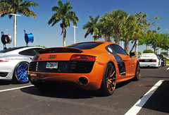 Amber Audi R8 (Infinity & Beyond Photography) Tags: auto orange sports car wheel amber florida tire exotic audi rims r8 goldrims