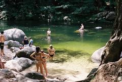 Mossman Gorge (Katie Tarpey) Tags: hot film water swim 35mm kodak australia boulders queensland tropical nikonfm10 portdouglas mossmangorge swimminghole freshwater kodakportra400 nikkor50mm14