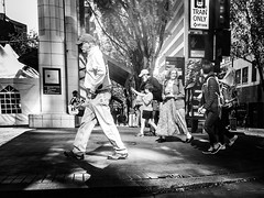 A Downtown Adventure (TMimages PDX) Tags: road street city people urban blackandwhite monochrome buildings portland geotagged photography photo image streetphotography streetscene sidewalk photograph pedestrians pacificnorthwest avenue vignette fineartphotography iphoneography