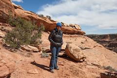 Marci at a Bluff on Road Canyon (jpmckenna - What Next????) Tags: landscape ruins desert hiking highdesert cedarmesa grandgulch getoutside roadcanyon hikingutah ruinsseldomseen