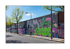 Graffiti (Edwin, 4D Crew, Tony Boy, The Real Dill), East London, England. (Joseph O'Malley64) Tags: uk greatbritain england london tarmac wall concrete paint britain streetlamp murals cctv spray british walls cans aerosol telephonepole edwin brickwork razorwire eastend workshops eastlondon graffitistreetart parkingrestrictions tonyboy wallmurals londonplanetrees muralists securityfencing demolitionimminent securityspikes therealdill granitekerbing 4dcrew