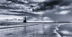 The Lonesome Lamp (Derek Coull) Tags: sea sky seascape storm silhouette clouds sunrise wave stfergus beachscape peterhead northernlighthouseboard rattrayheadlighthouse silverefexpro2 samsungnx500
