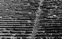 Delphi Theater (nickriviera73) Tags: travel blackandwhite white abstract black brick texture monochrome lines ruins pattern theatre pentax delphi greece monochroe k20d