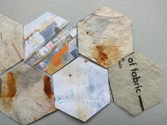 paper pieces (Carolyn Saxby) Tags: paper grey rust pieces sketchbook hexagon theme patchwork stives dyed cottages textiledesign englishpaperpiecing rustdyeing carolynsaxby
