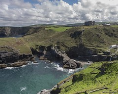 Camelot Castle  Hotel (Mr Mo-Fo) Tags: sea sky people beach grass stone clouds buildings bay waterfall rocks cornwall farmland cliffs hills merlin fields cave paths slate excalibur tintagel kingarthur camelotcastle camelotcastlehotel mrmofo desmorris canoneos1dx