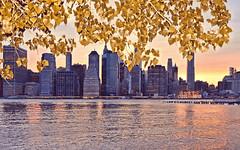 ny sunset (poludziber1) Tags: street city nyc sunset sky ny newyork building green yellow skyline architecture river colorful cityscape