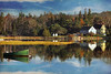 The Green Boat (sminky_pinky100 (In and Out)) Tags: travel autumn lake canada texture tourism rock reflections landscape boat novascotia earlymorning colourful route333 omot cans2s thegalleryoffinephotography