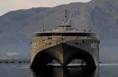 Swift (HSV 2) arrives at Marathi NATO Pier facility. (Official U.S. Navy Imagery) Tags: military navy greece crete soudabay usnavyunitedstate