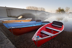 Boats on the Frome... (Chrisconphoto) Tags: mist boats dawn dorset wareham riverfrome