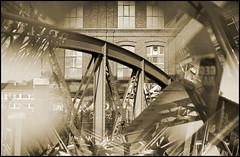 Wuppertal-Arrenberg: 19th century iron bridge and factory building (wwwuppertal) Tags: blackandwhite bw monochrome sepia germany deutschland factory fabrik ironbridge nrw sw wuppertal bergischesland nordrheinwestfalen elberfeld northrhinewestphalia schwarzweis eisenbrcke nikond90 arrenberg afsmicronikkor40mm128g afsmicronikkor2840mm ceneivariospiegelvorsatz elbagelnde