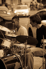 good performance - downtown toronto (Andy............) Tags: streets drums working entertainment busking teamwork streetentertainment 2guys playingmusic