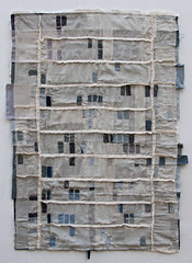 """Riverside Foreclosure Quilt, 2012. 34"""" x 46"""" Tea stained voile, cotton, linen, yarn and embroidery thread (kikiclark) Tags: california art quilt riverside map linen sewing indigo neighborhood cotton denim fiber scrap making lots piecing foreclosure foreclosurequilt"""