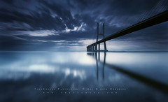Vasco da Gama Bridge (FredConcha) Tags: bridge blue sunset ponte vascodagama nascerdosol fredconcha