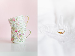 (Oh beautiful world.) Tags: pink flowers white cute love glass diamonds vintage table gold soft heart ring cups pastels dishes teacup holder flowerpattern ringholder vintagecups englishteacups glassringholder