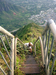 Stairway to Heaven (Haiku Stairs) (dakotabrinkert) Tags: ocean city trip morning travel trees light sea summer vacation sky storm mountains travelling art beach beauty clouds stairs digital sunrise trek landscape island photography lights hawaii islands climb landscapes early photo insane amazing intense flora nikon pretty heaven paradise view exercise haiku pacific forrest wind waikiki oahu hiking earth creative hike wanderlust east ridge explore climbing jungle illegal honolulu incredible epic fit 2012 stairwaytoheaven mountaintop immaculate oceanic haikustairs ridgehike d5100
