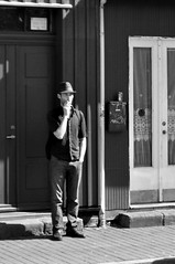 (Steini789) Tags: street door bw man hat standing blackwhite coke can smoking casual bystander