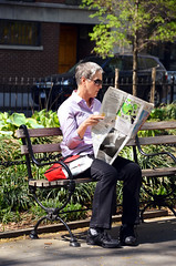 Daily News - Washington Square Park (Rachel Citron) Tags: nyc bench reading newspaper sightseeing tony mug nytimes gothamist parkbench printmedia curbed thenewyorktimes summerinthecity timeoutnewyork huffingtonpost newyorkcityparks newyorkmag thelocaleastvillage manhattanusersguide
