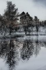 Uber Surreal (MRG Photo) Tags: morning mist reflection fog sunrise canon pond hdr t3i 24105mm