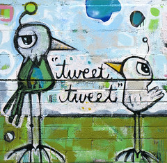 Twittering Tweets Mural (cobalt123) Tags: arizona cute phoenix birds wall mural graphic tweet tweets twitter twittering