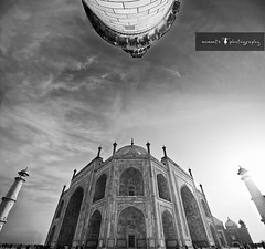 the inimitable glory of taj.... (PNike (Prashanth Naik..back after ages)) Tags: sky bw sun india building tower love monument architecture blackwhite nikon asia taj mahal tajmahal agra structure minar vertorama d7000 pnike