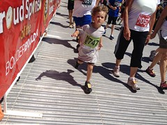 "My grandson has ""run"" the BolderBoulder 4 times...and he's only 4. This was he first time to cross the line under his own power. The BolderBoulder is a great tradition for our family. Looking forward to many more years to come."