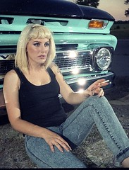 Ritzy-3D-003 (Onelog Photography) Tags: light sunset chevrolet film girl car female truck moving 3d sitting smoke calm grill chevy third late pbr pabst gif junkyard smoker dimension tough lenticular pinup strobe ritzy threedimensional nishika ritzyriot