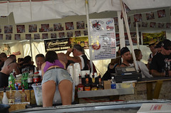 Broken Spoke Bartender at Laconia bike week 2012 (Call of The Wild Photography) Tags: beach women motorcycles bikes harley denim shorts vtwin davidson laconia daisydukes chics cutoffs wiers