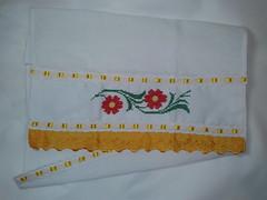Pano de Prato Bordado Ponto Cruz - Flores Vermelhas C007 (SaluArts) Tags: flores de pano artesanato cruz ponto prato copa bordado