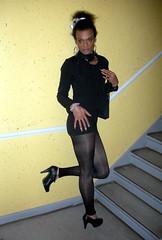 Tranny Puberty 1 (Lisa/Anders - Ninja Transvestit Danmark) Tags: sexy pose high highheels skirt tgirl tranny transvestite heels tight trans ebony nylon ladyboy transvestit