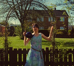 day 53 (Emily L Whiteford) Tags: old flowers 1920s summer portrait woman plants sun sunlight selfportrait colour green me nature floral girl look fashion fairytale self pose garden myself photography belt spring vines focus pattern arch colours dress view natural tea expression patterns rich perspective expressions experiment style naturallight sunny fabric fantasy shade era april teapot fade express colourful archway afternoontea afternoons bold 20s 2014 tumblr