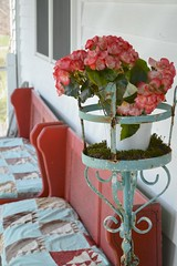 Farmhouse Porch (itchinstitchin) Tags: pink flowers blue red plants farmhouse quilt teal country cottage decoration porch 365 chic benches pew decor planter chippy shabby