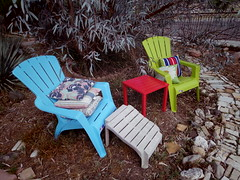 Cocktail spot (EllenJo) Tags: home yard table colorful pentax pillows eucalyptus 2016 adirondackchairs may20 ellenjo ellenjoroberts pentaxqs1