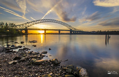 Golden Silver (Paul's Picx) Tags: longexposure bridge sunset water river iron cheshire structure mersey runcorn widnes silverjubilee