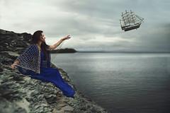 Away to Neverland (Furcifer07) Tags: ocean blue sea cliff storm net girl weather canon boat fly flickr ship moody dress reaching mark iii flight away stormy cliffs peter gathering 5d pan wendy neverland lorenschmidt ccfg2016