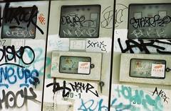 Read the Meter - Bangkok (35mm) (jcbkk1956) Tags: street film analog thailand graffiti nikon bangkok meter manual streetfurniture nikkor electrical fe2 thonglo sukhumvitroad kodacolour200