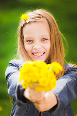 portrait of smiling young girl holding bouquet of flowers in hands (as.web) Tags: camera family flowers wild summer portrait people woman cute green eye nature girl beautiful smile face look field fashion yellow female hair fun happy person kid spring long pretty european day child hand bright background daughter young meadow happiness front lips teen blond contact bouquet cheerful schoolgirl dandelions caucasian lookingatcamera