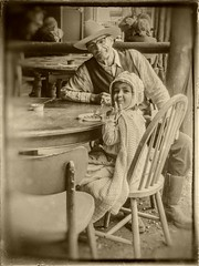 Return in the past (Isabelle Gallay) Tags: old city people urban man girl monochrome sepia kid rainbow sony western enfant fille ville homme granfather urbain farwest cestas aquitaine gironde