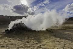 Gysir (khybinette) Tags: summer lake art clouds landscape iceland warm desert smoke cook steam smell canon5d eastside myvatn hverarnd studentphotography canonmarkiii vanlol
