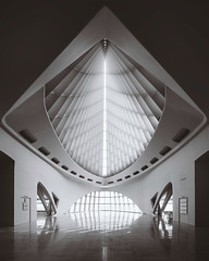 Windhover Hall (ScottNorrisPhoto) Tags: blackandwhite panorama usa white reflection geometric sepia wisconsin architecture photography interior entrance explore milwaukeeartmuseum milwaukee photoaday gateway marble vaulted mam glassceiling photooftheday quadraccipavillion 365project windoverhall santigocalatrava scottnorrisphotography