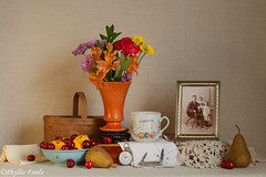 Still life Happy Father's Day. (Phyllis Freels) Tags: flowers stilllife cup fruit vintage cherry lemon basket availablelight father bowl pear vase fathersday tabletop pocketwatch hankerchief pocketknife fatherandchildren stilllifephotoart phyllisfreels