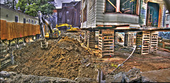 """""""Bates Motel"""" Construction Site Update HDR Panorama (Walker Dukes) Tags: sanfrancisco california blue red sky orange sunlight green yellow photoshop canon fence gold workers shadows grunge curtain ground creepy plastic equipment dirt sfbayarea noise flimsy confusion dig backhoe photomatix tonemapping canons95"""