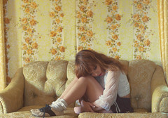 (yyellowbird) Tags: wallpaper house selfportrait abandoned floral girl illinois couch lolita cari