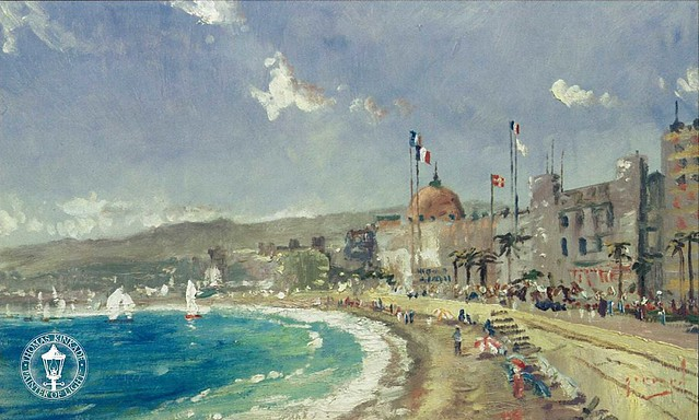 THOMAS KINKADE - The Beach at Nice