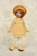Outfit for Iplehouse BID (Maram Banu) Tags: yellow beads outfit clothing doll dress boots handmade crochet knit clothes bjd beret bid yosd iplehouse bordy realskin fairystyle marambanu