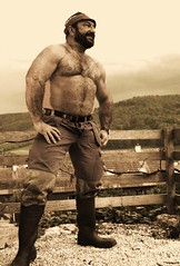 rugged swiss farmhand - may 2012 (Farmerbaer) Tags: brawny burly buff stocky muscled hairy bearded gummistiefel rubberboots stableboots stallstiefel delaval bear beard