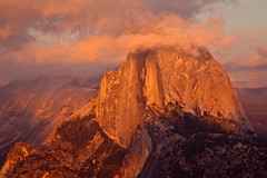 An Evening with Half Dome (photos by Crow) Tags: california mountains canon nationalpark mammoth yosemite granite monolith grandeur grandiose breathtakinglandscape apricotclouds carolrukliss